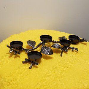 Silver & Black Leaf Designed Candleholder